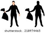 man holding garbage bag  vector | Shutterstock .eps vector #218974465