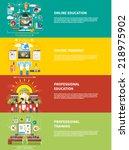 set icons for education  online ... | Shutterstock .eps vector #218975902
