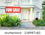real estate sign in front of... | Shutterstock . vector #218987182