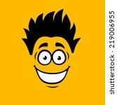 smiling cartoon face on orange... | Shutterstock .eps vector #219006955