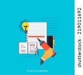 flat concept education... | Shutterstock .eps vector #219011692