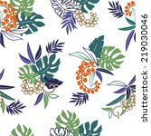 tropical plants pattern | Shutterstock .eps vector #219030046