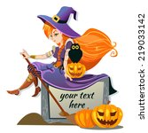 sexy redhead witch with owl.... | Shutterstock .eps vector #219033142