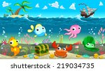 funny scene under the sea.... | Shutterstock .eps vector #219034735