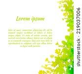 yellow green watercolor... | Shutterstock .eps vector #219037006