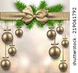 golden christmas balls... | Shutterstock .eps vector #219061792