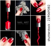 Nail art trend. Trendy manicure set. Six Isolated macro pictures over black background. Manicure and makeup concept. - stock photo