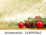 christmas card with fir and... | Shutterstock . vector #219092062