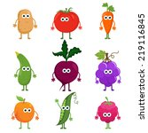vector set cartoon fruit and... | Shutterstock .eps vector #219116845
