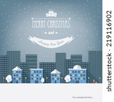 christmas cityscape card design ... | Shutterstock .eps vector #219116902