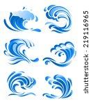 blue curling ocean waves icons... | Shutterstock .eps vector #219116965