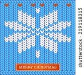 merry christmas knitted card ... | Shutterstock .eps vector #219118315