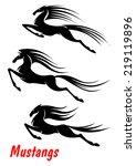 black elegant wild horse... | Shutterstock .eps vector #219119896