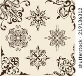 victorian corner set is on beige | Shutterstock . vector #219136312