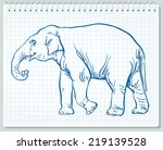 line art drawing of an elephant | Shutterstock .eps vector #219139528