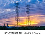 electric tower at sunset   Shutterstock . vector #219147172