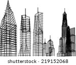 abstract architectural building vector sketch