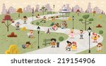 group of cute happy cartoon... | Shutterstock .eps vector #219154906