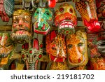 colorful mayan wooden masks... | Shutterstock . vector #219181702