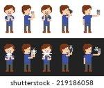 Pixel Art Set Of Person Making...