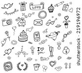 set of love doodle icon set... | Shutterstock .eps vector #219196972