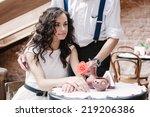 couple flirting. romantic...   Shutterstock . vector #219206386