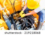 asian motor mechanic working on ... | Shutterstock . vector #219218068