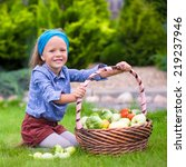 portrait of little girl with...   Shutterstock . vector #219237946