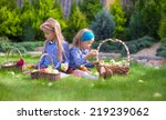 two little adorable girls with... | Shutterstock . vector #219239062