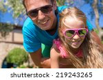 portrait of father and little... | Shutterstock . vector #219243265
