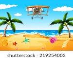 illustration of a vintage plane ...   Shutterstock .eps vector #219254002
