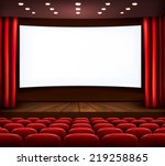 cinema with white screen ... | Shutterstock .eps vector #219258865