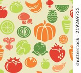 food and vegetable icons in... | Shutterstock .eps vector #219269722