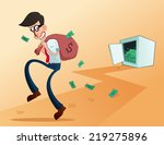 young worker stealing from his... | Shutterstock .eps vector #219275896