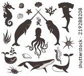 sea life  marine animals.... | Shutterstock .eps vector #219288208