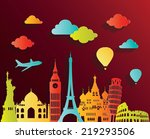 travel and tourism background.  | Shutterstock .eps vector #219293506