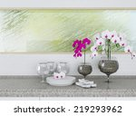 ceramic tableware on the... | Shutterstock . vector #219293962