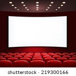 cinema with white screen and... | Shutterstock .eps vector #219300166