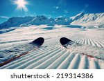 skis in snow at mountains | Shutterstock . vector #219314386