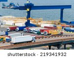 white truck near sea and ship | Shutterstock . vector #219341932