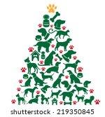 Stock photo cartoon dogs and cats christmas tree 219350845