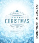 christmas retro typography and... | Shutterstock .eps vector #219352522