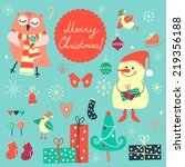 christmas colorful set of funny ... | Shutterstock .eps vector #219356188
