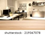 wooden desk of office  | Shutterstock . vector #219367078