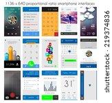 smartphone ui flat style...