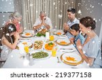 family of six saying grace... | Shutterstock . vector #219377158