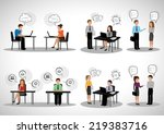 business people with speech... | Shutterstock .eps vector #219383716