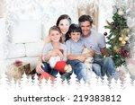 happy family at christmas time... | Shutterstock . vector #219383812