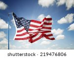 american flag in blue sky | Shutterstock . vector #219476806