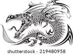 dragon doodle sketch tattoo   Shutterstock .eps vector #219480958